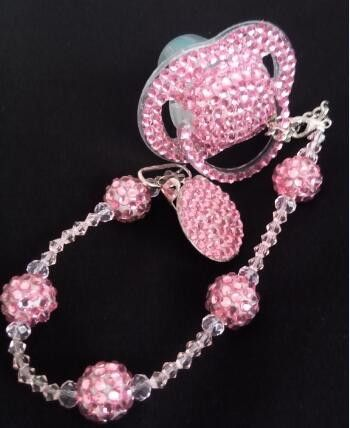 Rhinestone Baby Pacifier Maternity Toddler Child Teething bling Pacifier clip Orthodontic Soother BPA 0% 3M+