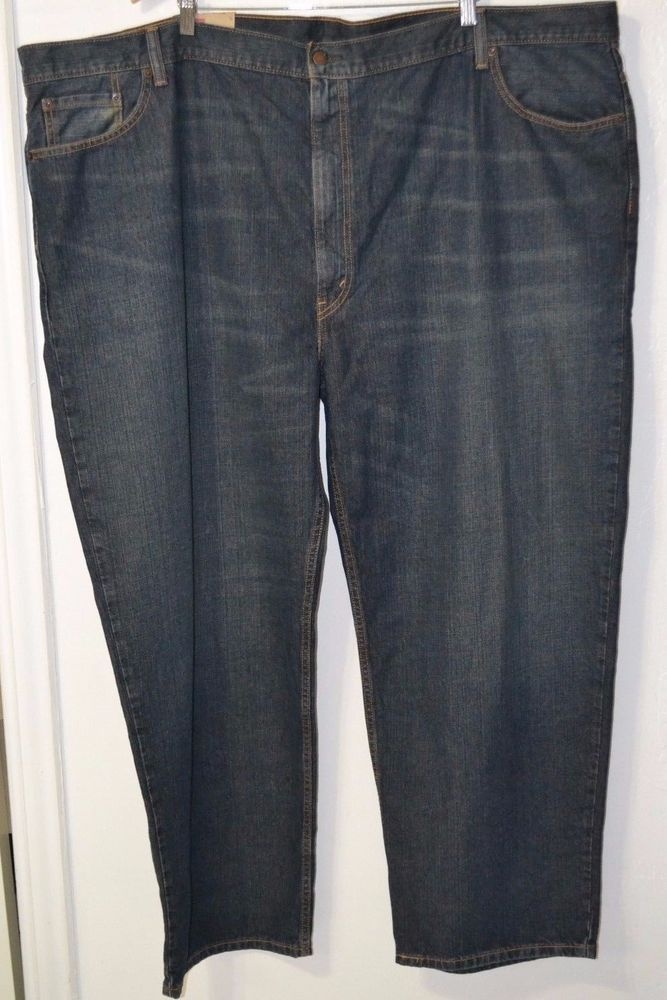 NWT Men's LEVI'S 550 Big and Tall Relaxed Fit 100% Cotton Blue Jeans 56 x