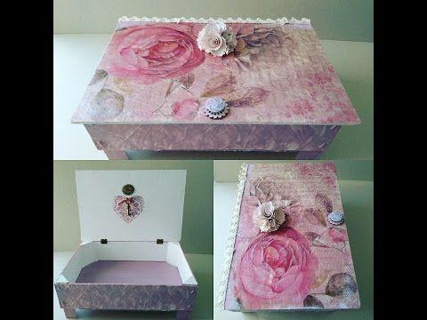 Cómo hacer una caja shabby chic con madera reciclada y decoupage - YouTube