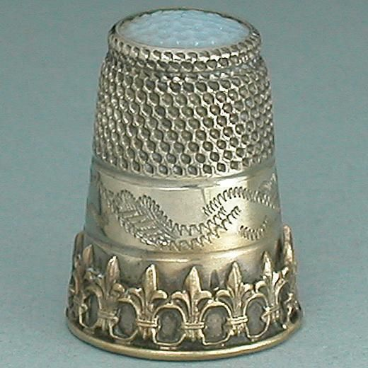 Stone Top Antique Thimble (Antique English by Charles Iles, Vintage Circa 1890 Silver Thimble, Inset Dimpled Moonstone Colored Glass Top)