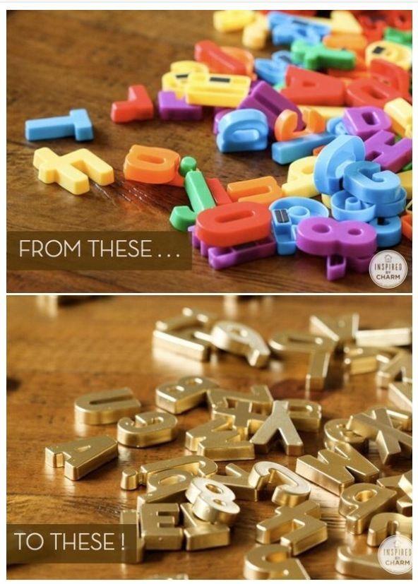 Goldene Magnetbuchstaben