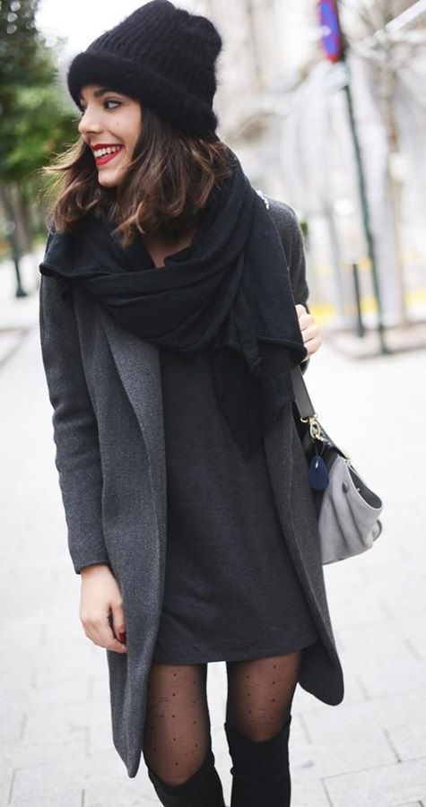#winter #fashion / black scarf + dark gray coat