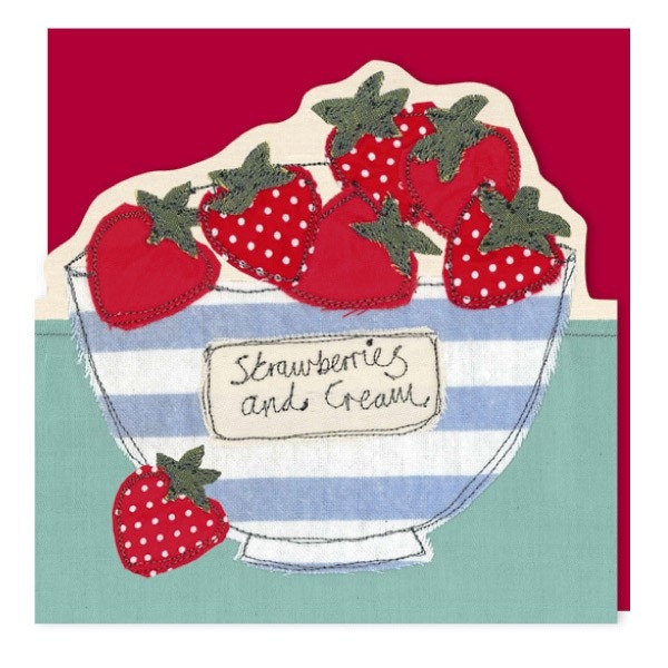 Strawberries and cream diecut - greeting card