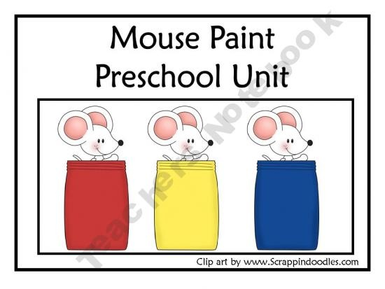 Mouse paint preschool unit english version product from bilingual