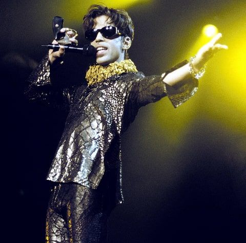 Prince performing at Shoreline Amphitheater in Mountain View, Calif., on Oct. 10, 1997.