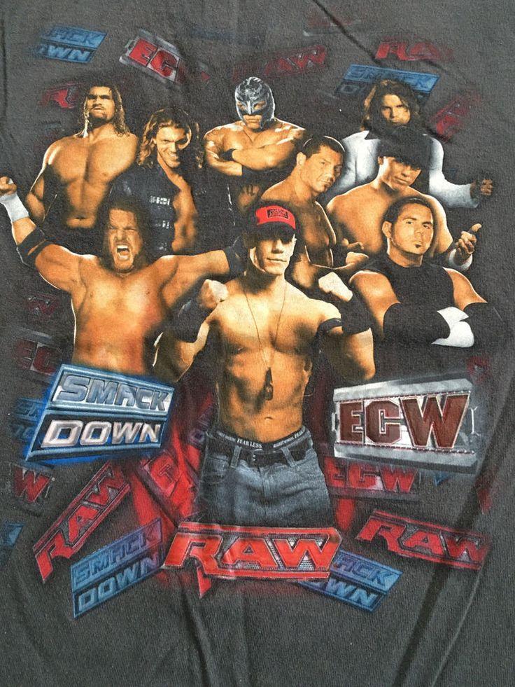 WWE Raw ECW Smackdown Wrestling Shirt Kids Youth XL Cena Edge Mysterio Bautista  #Hybrid #wweraw #wwesmackdown #wweecwwrestling #allwrestlers