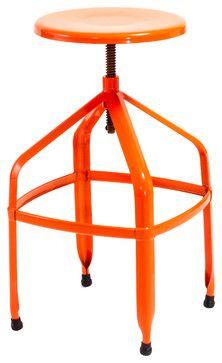 Izzy Steel Adjustable Swivel Stool Orange Contemporary
