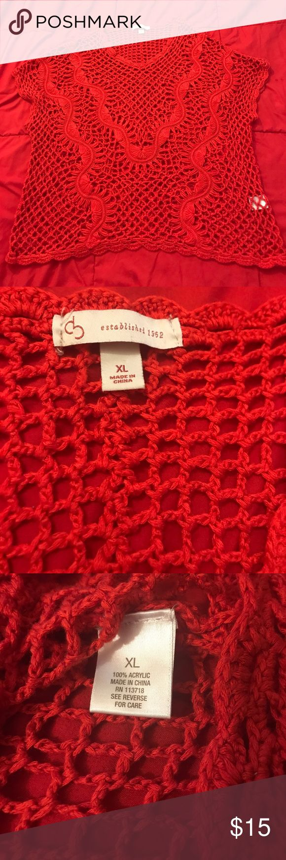 Db red crochet top Dress barn red crochet short sleeve top size extra large. Made of 100% acrylic. In good condition besides one string ripped. (Shown in picture) Dress Barn Tops Blouses