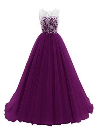 Dresstells Women's Long Tulle Prom Dress Dance Gown with Lace