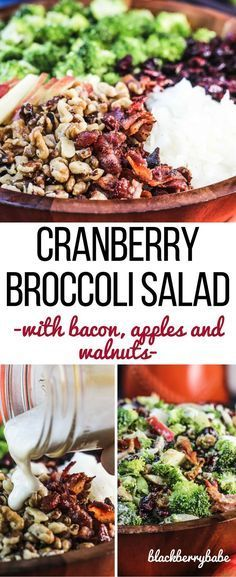 My FAVORITE salad for the holidays! Cranberry Broccoli Salad with Bacon Apples and Walnuts. Tossed in an easy creamy maple dressing!