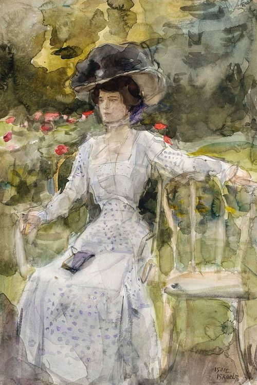 An Elegant Lady in a Garden by Isaac Israels - ca. 1900's
