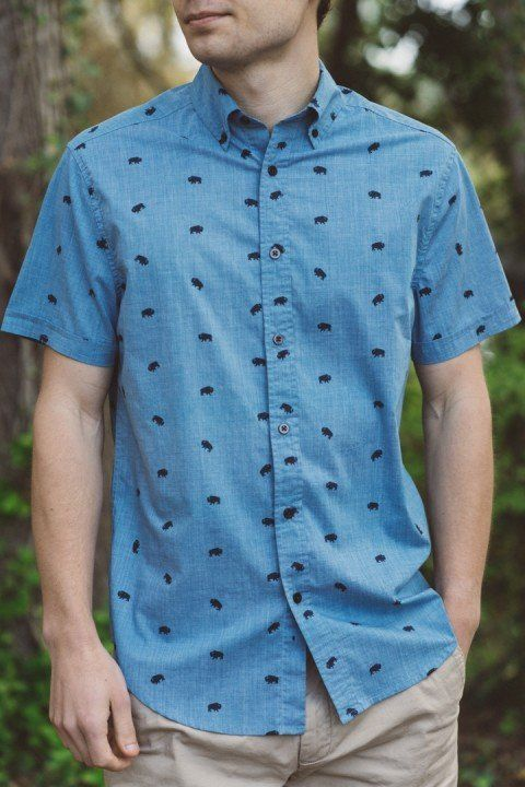 71756140790 This buffalo print blue short sleeve button up shirt for men is ...