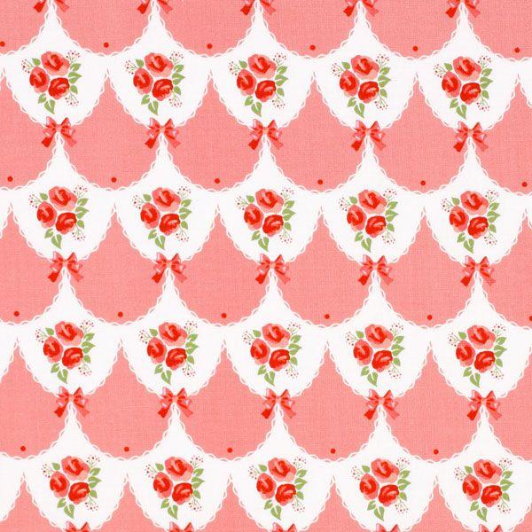 Tante Ema Rozenbruiloft 2 - roze - Decoratiestoffen rozen - Katoenen stof bloemen - Kinderstoffen Tante Ema - Tante Ema - Stoffen - stoffen.net