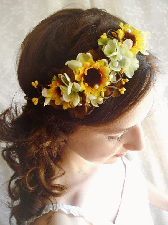 sunflower crown hair wreath wedding headpiece by thehoneycomb, $90.00