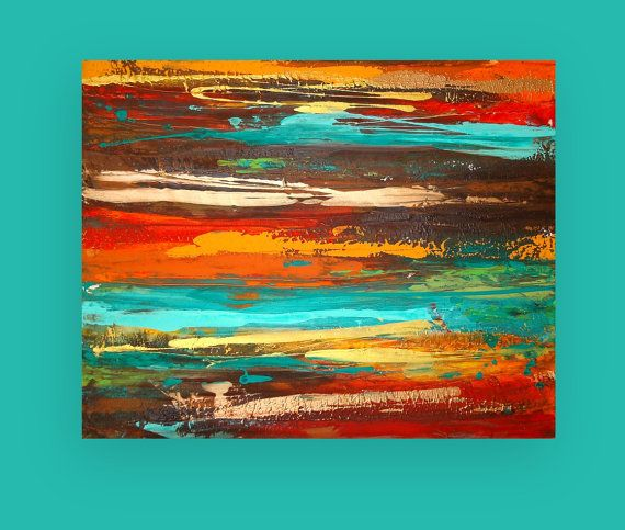 This is an original one of a kind painting by acrylic artist Ora Birenbaum.    Very bold look to this modern painting. I used shades of red, orange, turquoise, deep rich browns, and touches of greens. There are overlays of metallic gold and copper as well. Very weathered look to this highly textured painting.    Would look great displayed in any direction. Sides will be finished in a deep chocolate brown.    TITLE: Fusion  DIMENSIONS: 24x30x1.5  MEDIUM: Acrylics on Gallery Canvas Will arrive…