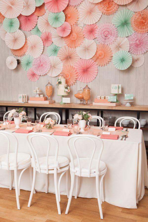 Table décoration déco mariage Mint Peach menthe et pêche orchidee de soie