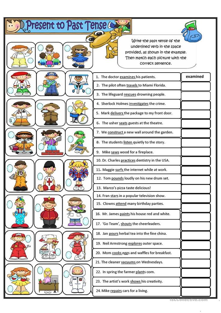 Simple Present tense to Simple Past tense - Regular Verbs worksheet - Free ESL printable worksheets made by teachers