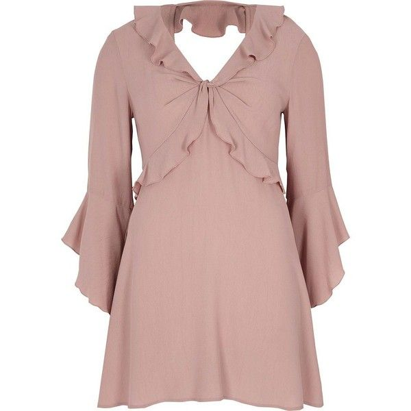 River Island Petite pink frill tea dress ($80) ❤ liked on Polyvore featuring dresses, pink, shift dresses, women, petite dresses, shift dress, long-sleeve shift dresses, bell sleeve shift dress and long dresses
