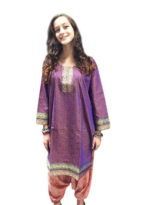 Mogul Womens Indian Tunic Dress Purple Sari Border Printed Stylish Bohemian Kurti L  #bohotunic #sale #hipietunic #christmastunic #holidaygift #sale