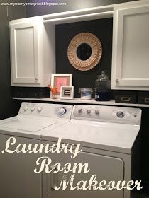 A simple fix for our basement. Small shelf at back of washer & dryer with decorative pieces