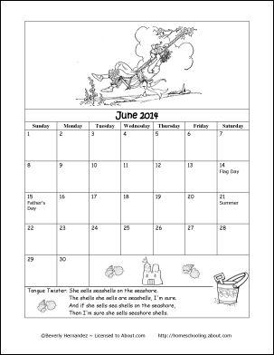 2014 Calendar Year - Printable ColoringCalendar