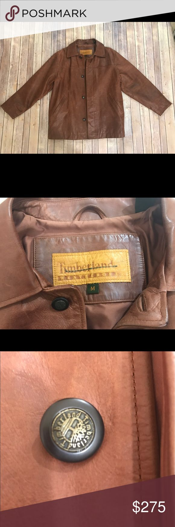 Timberland Men's Leather Coat Basically new only worn once Leather Coat Size Medium Timberland Jackets & Coats