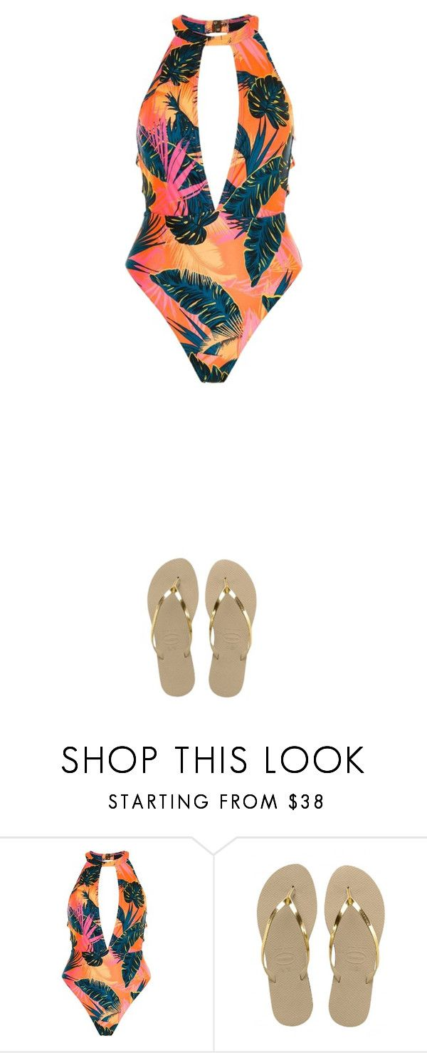 """""""Bikini #5"""" by shala-06 ❤ liked on Polyvore featuring River Island and Havaianas"""