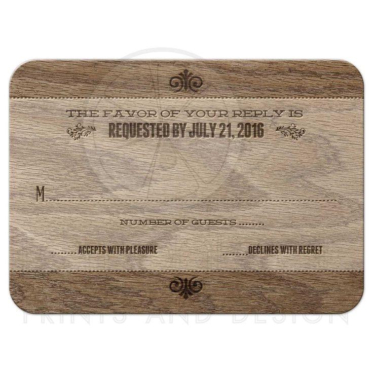 proper response time for wedding rsvp%0A Wedding RSVP Reply Card  Rustic Vintage Burned Oak Wood