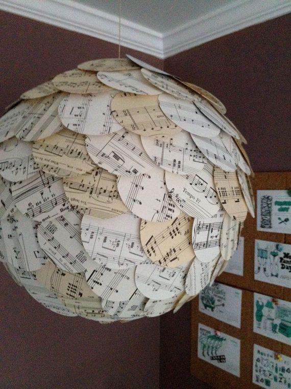 Music Paper Lantern Circles Hanging Shade by BohemiaAfterDark, $40.00