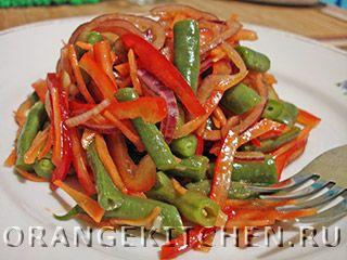 Рецепт постного салата из стручковой фасоли