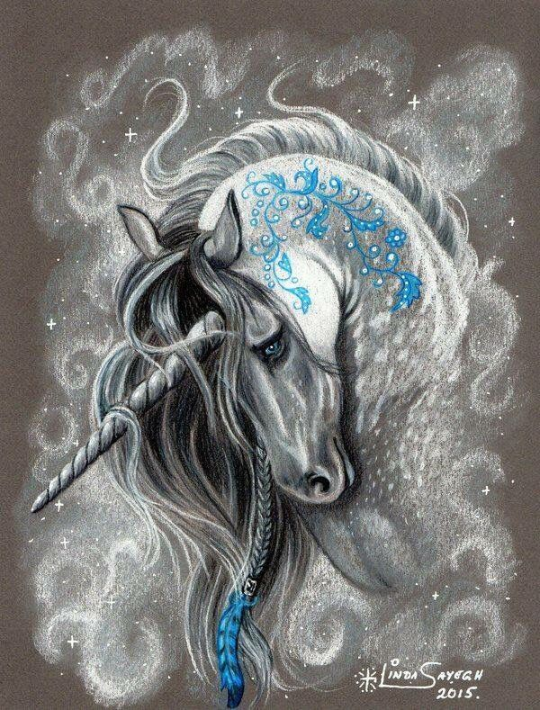 Unicorn with blue feather art