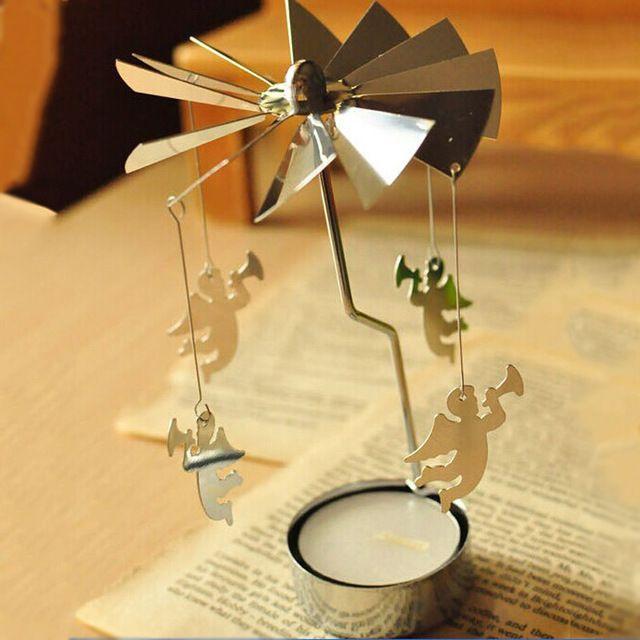 2016 Отличный Дизайн Поворотный Спиннинг Карусели Ангел Света Чая Рождественский Подарок Подсвечник Бесплатная Доставка