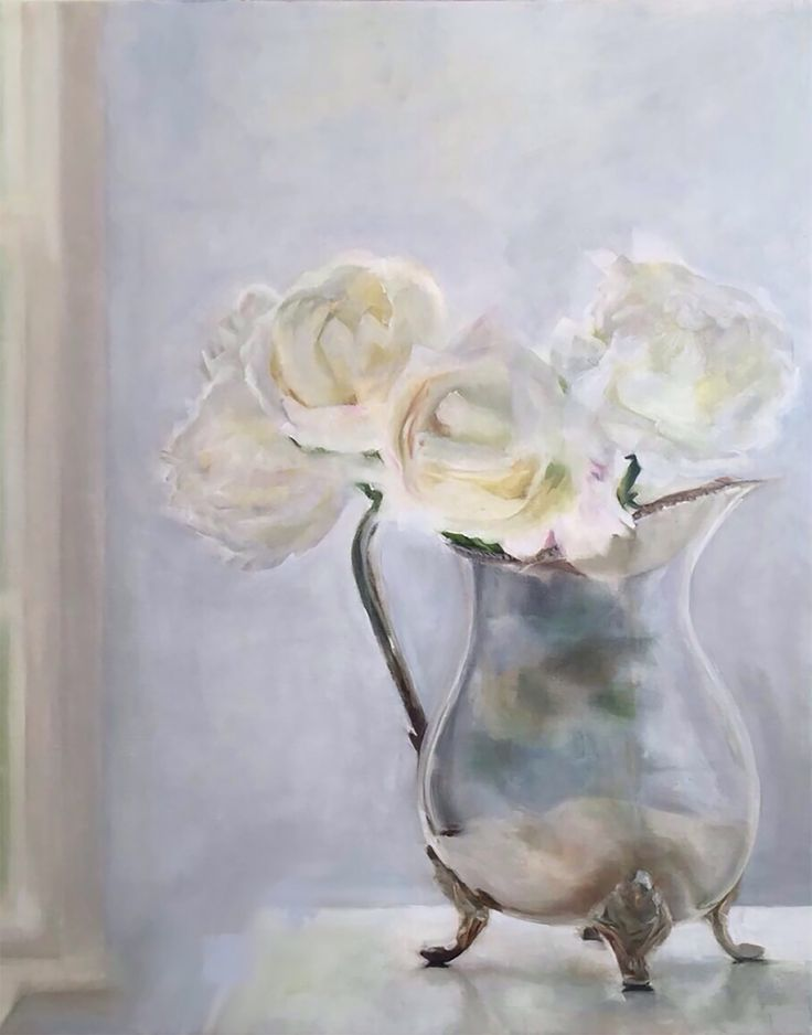 'Silver Jug & White Roses', oil painting by Trish Mitchell