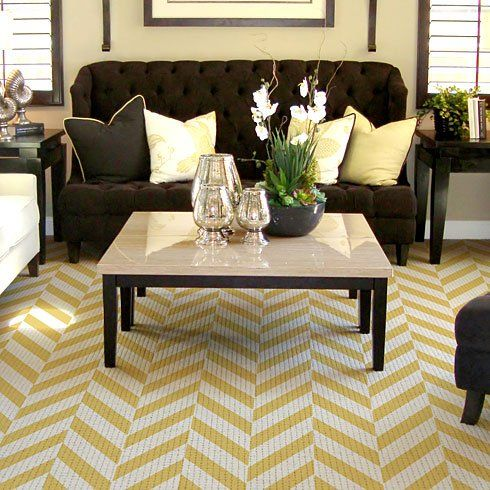 herringbone stenciled rug