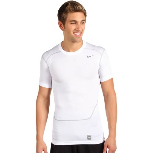 $28.00 Nike Pro Core Compression S/S Top 2.0 (White/Cool Grey) Men's Short Sleeve Pullover