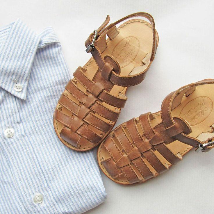 Tan leather sandals for boys www.menthe-et-grenadine.com