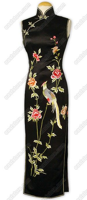 Colorful embroidered phoenix and peonies in silk on black silk background cheongsam.  I love this dress.
