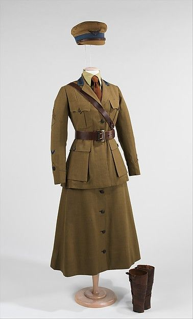 1916-18: Women joined the work force during WW1 and would often volunteer their services for the war. This military uniform shows a similar silhouette of the men's uniform, but eliminated the style of a hobble skirt for a more loose, comfortable skirt.