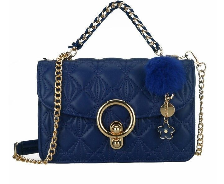 Chain Women s Handbags BLUE With Pendant