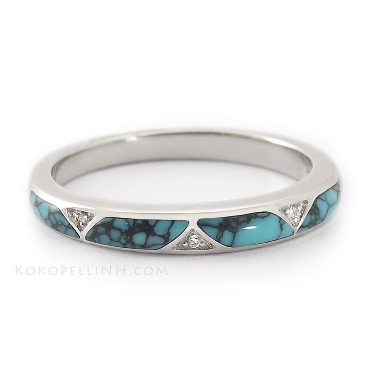 """""""Stormy Sky - Passage"""" Women's Chinese Turquoise Wedding Band"""
