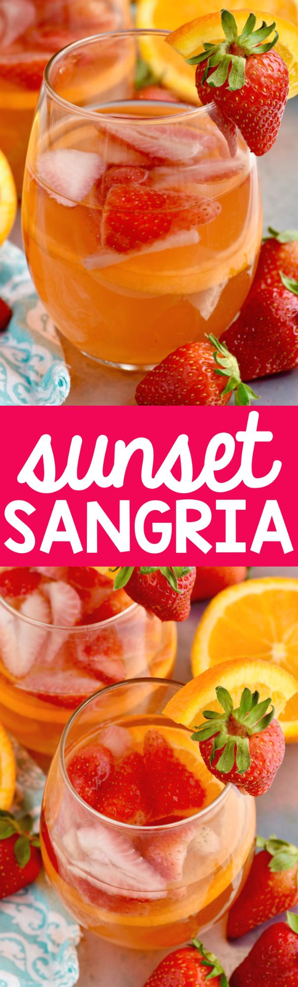 This Sunset Sangria is made with orange, strawberry, rum and will quickly become a favorite!: