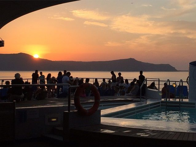 Sundays' evenings are best spent relaxing on the deck of our cruise ships while watching the sunset!   Photo by @baris_aksoy_ #Celestyalcruises #cruiseship #sunset #colours #travel