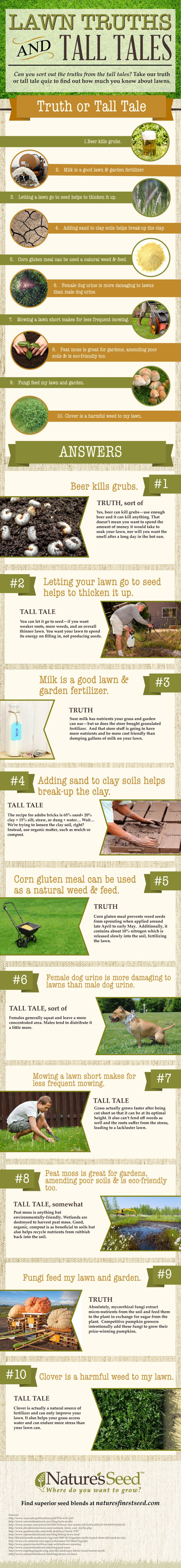 Lawn Care Truths and Tall Tales, do you know the difference? #infographic #lawncaretips