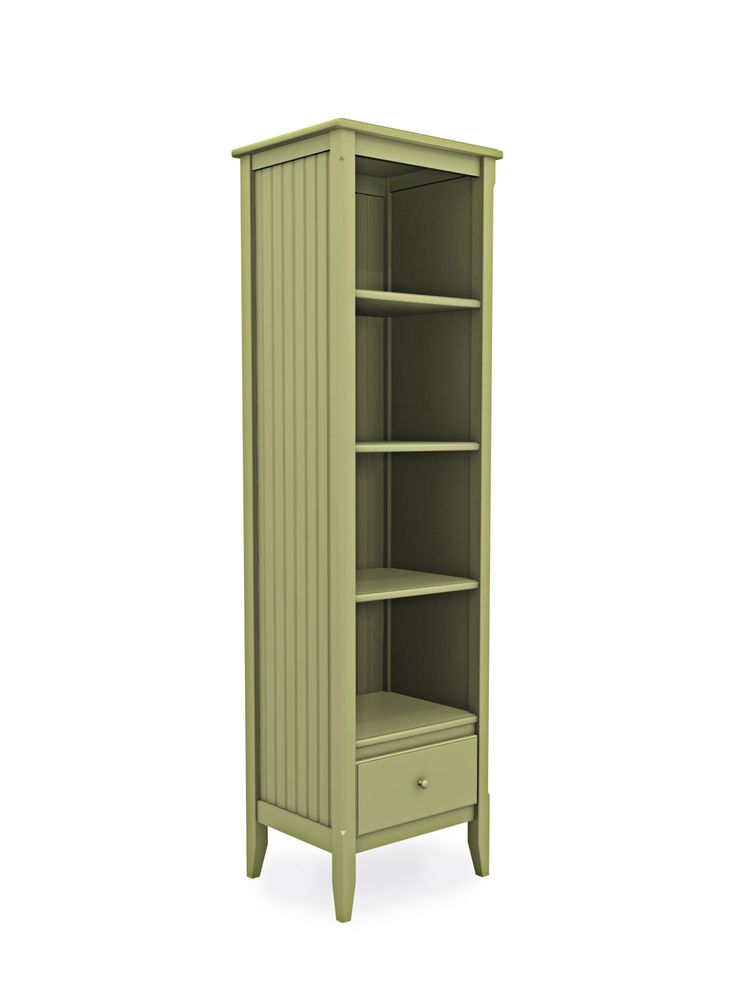 Cottage Tall Narrow Bookcase With Drawer Home