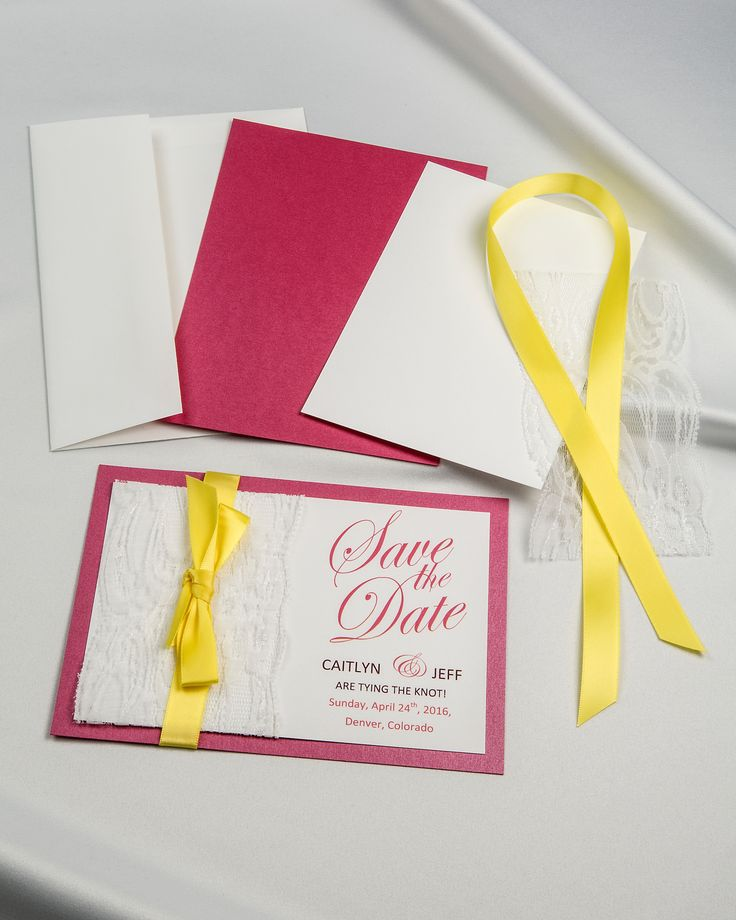 Fuchsia Pink with Lemon Yellow satin ribbon