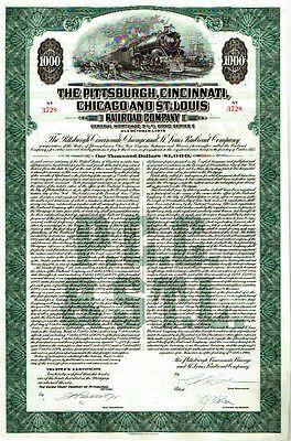 scripophilia scripophily  The Pittsburgh Cincinnati  Chicago and St louis extra