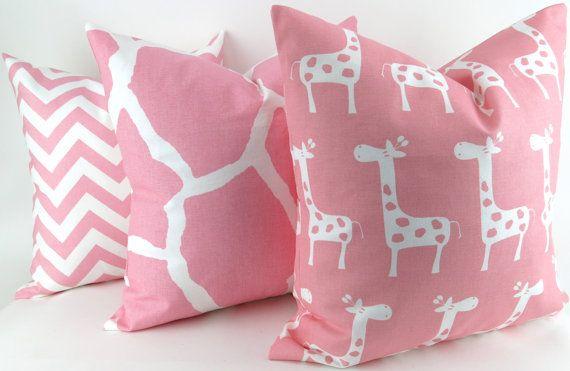 Pink Giraffe Pillow Cover Set 18x18 inch Zoo animal nursery kids room girls Premier Prints throw cushion sham decorative decorator FREE SHIP on Etsy, $65.10 AUD