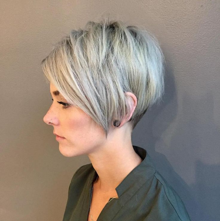Ash Blonde Pixie with Long V-cut Bangs