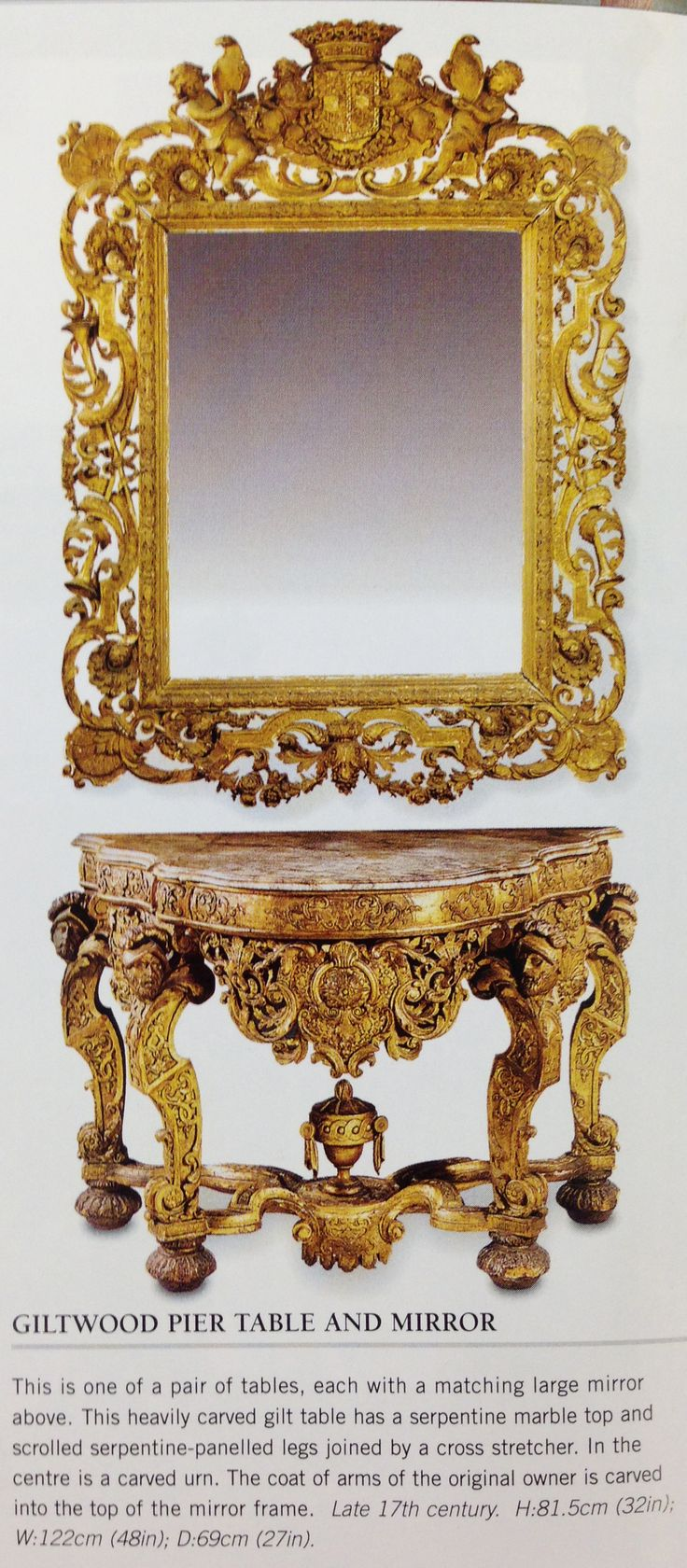 Giltwood pier table and mirror baroque late 17th century for 17th century mirrors