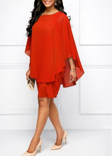 b9cb630b22e Round Neck Orange Red Chiffon Overlay Dress